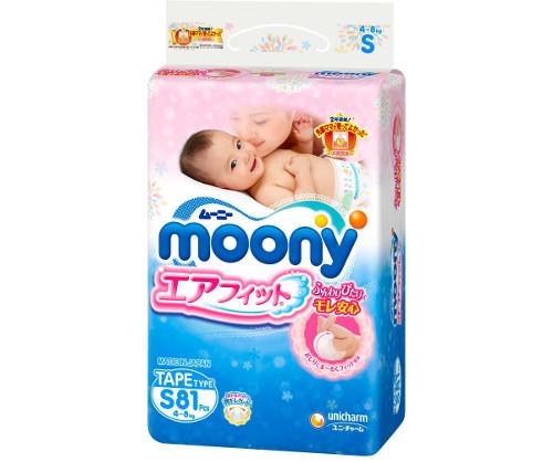 Moony подгузники S (4-8 кг)